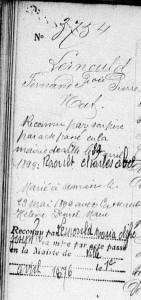 mentions marginales sur l'acte de naissance de Fernand RAOULT, 1871, Lille (Nord)