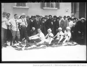 Championnat de France de bobsleigh - équipe du hockey club de Chamonix, 19 janvier 1913 | Agence Rol