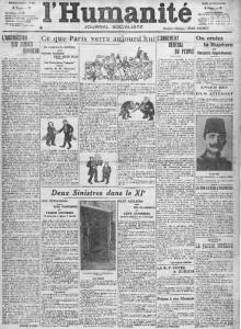 L'Humanité, une du 18 février 1913