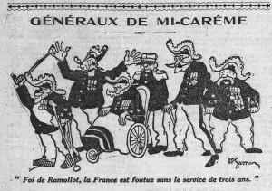L'Humanité du 28 février 1913 - extrait : une Généraux de-mi-carême