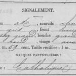 signalement de Charles Abel RAOULT dans sa fiche matricule, 1878