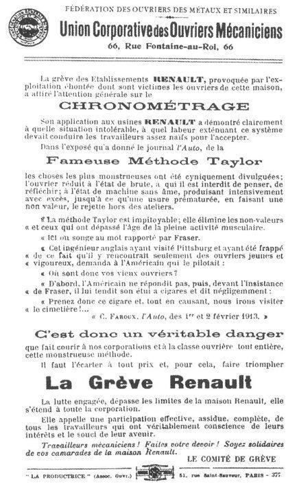 affiche syndicale - grève du chronométrage aux usines Renault, février 1913
