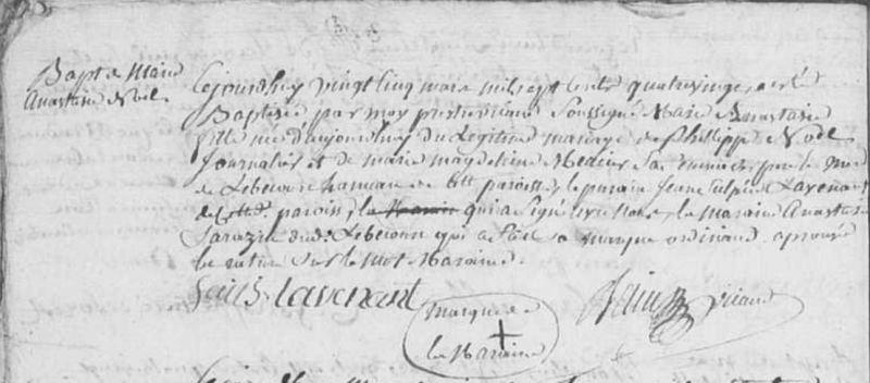 acte de baptême de Marie Anastasie Marie NOËL, 1780, Forêt-la-Folie