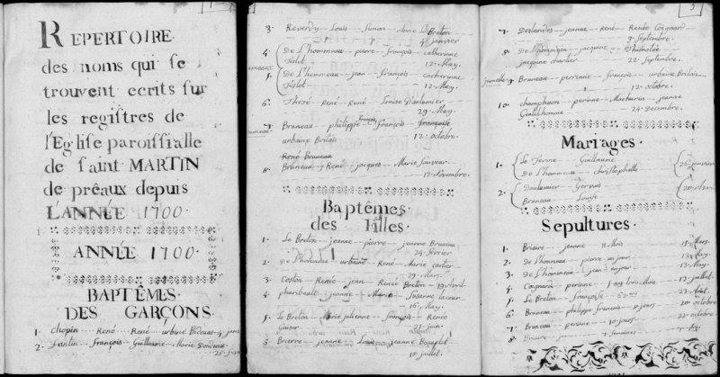 Tables des registres paroissiaux (BMS) de Préaux (1700-1789)
