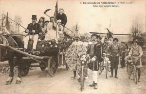 Carte Postale Ancienne - Villedômer (Indre-et-Loire) - Cavalcade 2 Mars 1913 - Char des Quatre Saisons