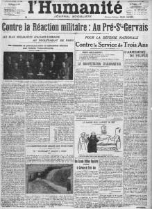 L'Humanité, une du 16 mars 1913