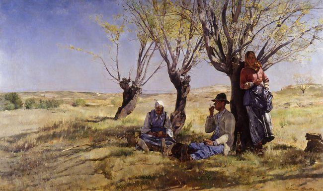 Lou Gousta, le déjeuner des paysans, par Alphonse MOUTTE (1840-1913)