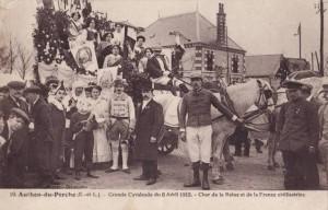 Carte Postale Ancienne - Authon-du-Perche (Eure-et-Loir) - Grande Cavalcade du 6 Avril 1913 - Char de la Reine et de la France civilisatrice