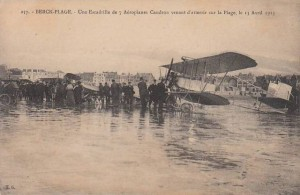 Carte Postale Ancienne - Berck-Plage (Pas-de-Calais) - Une Escadrille de 7 Aéroplanes Caudron venant d'atterrir sur la Plage le 13 Avril 1913