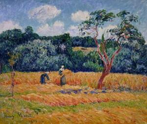Personnages moissonnant un champ de blé, par Henry MORET (1856-1913), huile sur toile