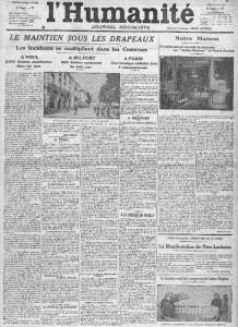 L'Humanité, une du 21 mai 1913