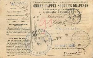 Ordre d'appel sous les drapeaux, 1913