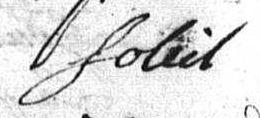 signature de Pierre SOLEIL, en 1749 lors de son mariage à Toul