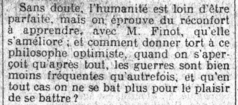 Le Petit Parisien, une du 1er juin 1913, extrait - L'homme devient-il meilleur ?