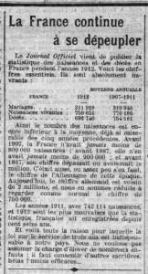 La Croix, une du 18 juin 1913 - La France continue de se dépeupler