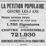 L'Humanité, une du 29 juin 1913, extrait - La pétition populaire contre les 3 ans