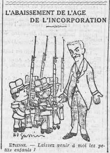 L'Humanité, une du 19 juillet 1913, extrait - L'abaissement de l'âge de l'incorporation