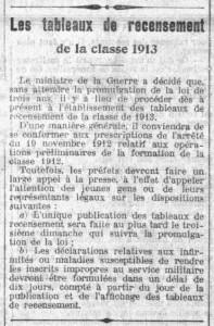 La Croix, une du 26 juillet 1913, extrait - Les tableaux de recensement de la classe 1913 | Gallica - BnF