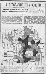 L'Humanité, une du 27 juillet 1913, extrait - La géographie d'un scrutin