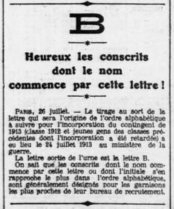 L'Ouest-Eclair (Rennes), une du 27 juillet 1913, extrait - Heureux les conscrits dont le nom commence par la lettre B | Gallica - BnF