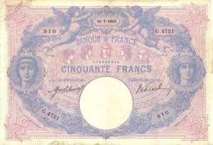 Billet 50 Francs, bleu et rose, type 1889, 11 juillet 1913, Fayette