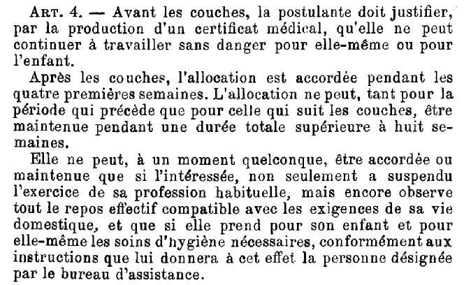 """Loi """"Assistance aux femmes en couches"""", 17 juin 1913 - article 4"""