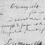 Acte de Baptême à trous, 1664, Appenai-sous-Bellême (Orne) | AD 61 - cote E dépôt 482/7 - BMS 1662-1680 - vue 8