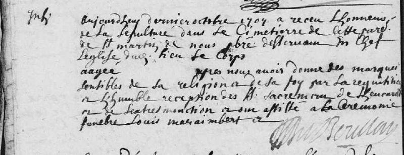Acte de sépulture à trous, 1707, Saint-Martin-du-Vieux-Bellême (Orne) | AD 61 - côte E dépôt 89/25 - BMS 1707-1727 - vue 22