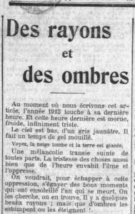 La Croix, 1er janvier 1914 - une - Des rayons et des ombres
