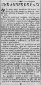 Le Petit Parisien - une du 2 janvier 1914 - Une Année de Paix