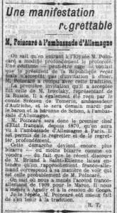La Croix, une du 20 janvier 1914 - Une manifestation regrettable