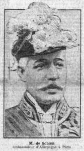 Le baron de SCHOEN, ambassadeur d'Allemagne à Paris, en une du Petit Parisien du 21 janvier 1914