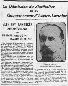 L'Humanité, une du 30 janvier 1914 - Démission du gouvernement d'Alsace-Lorraine