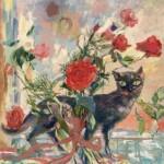 Le chat aux roses, par Eliane DIVERLY (1914-2012), peintre