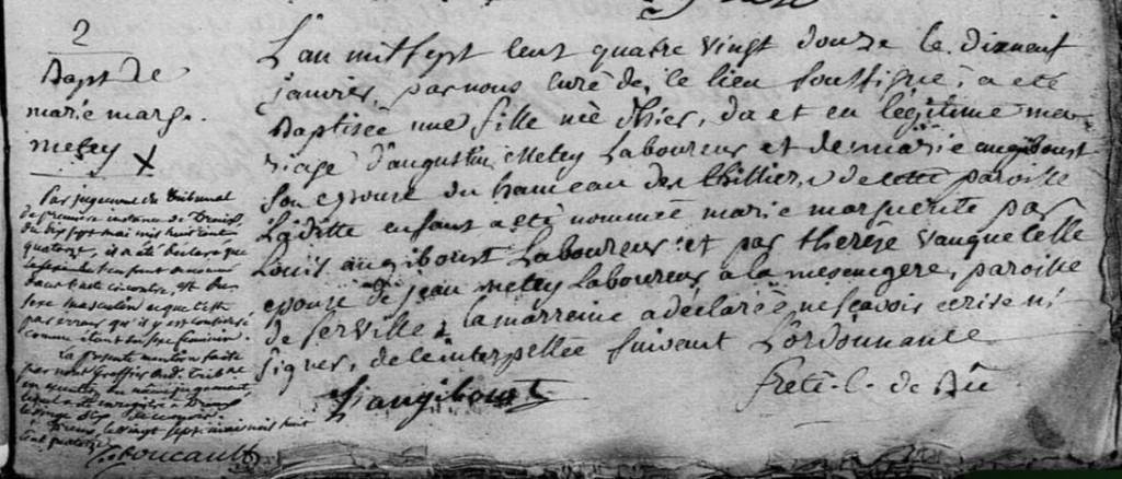 Acte de Baptême de Marie Marguerite METEY, 1792, Bû, Eure-et-Loir - AD28, cote 3 E 064/004 BMS 1768-1792, vue 367