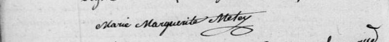 signature de Marie Marguerite MÉTEY, 1826