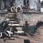 Épisode de la Chouannerie - bataille de Locminé (56) - victoire des Chouans - peinture par Jules Giradet
