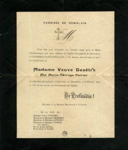 Faire-part de décès de Marie-Thérèse POIRIER