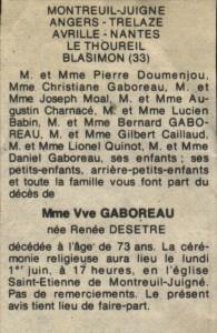 Faire-part de décès de Renée DESÊTRE