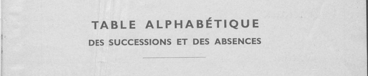 Table alphabétique des successions et des absences - Mâcon AD71 - 3 Q 24781