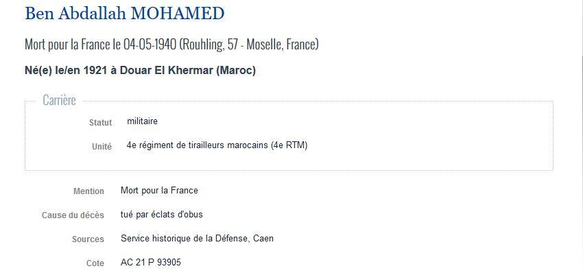MOHAMED Ben Abdallah - Mort pour la France