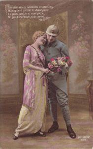 Carte Postale Ancienne fantaisie colorisée - Poilu et jeune femme - écrite en 1917