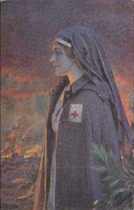 Carte Postale Ancienne - infirmière sur le front - écrite en 1917